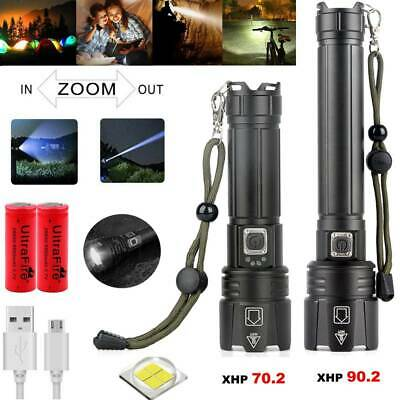 120000 Lumens Rechargeable XHP90.2 Most Powerful LED Flashlight USB Zoom Torch