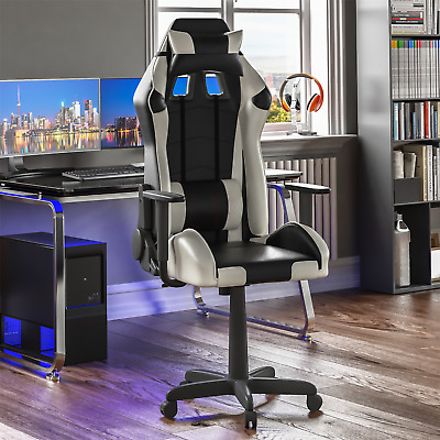 Racing Gaming Office Chair Executive Home Swivel Recliner Leather White Black