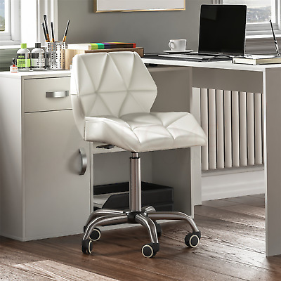 Computer Office Chair Cushioned Home Swivel Leather Small Adjustable Desk White