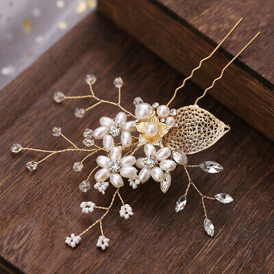 Wedding Alloy Leaves Rhinestone Pearl U-Shaped Hairpin Bride Plait Hair Clip UK