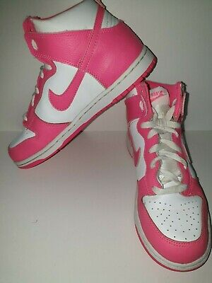 Girls Nike Trainers High Top UK Size 2 - Pink White