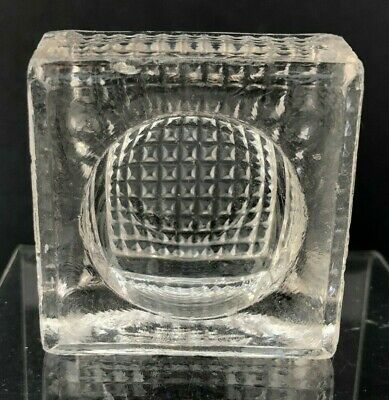 VTG EAPG Antique Open Salt Cellar Dip Dish Large Square GLASS Optical Illusion