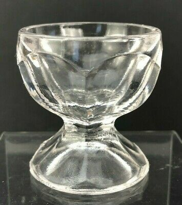 Vtg Antique Open Salt Cellar Dip Open EAPG Footed Clear GLASS Round Pedestal