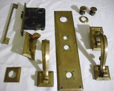 ANTIQUE CORBIN BRASS ENTRY FRONT DOOR MORTISE LOCKSET with BACKPLATE