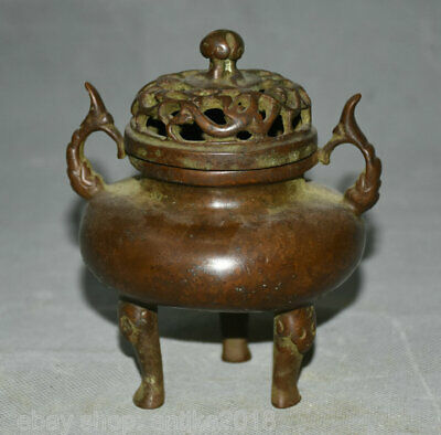 "5.2"" Marked Antique China Dynasty Purple Bronze Beast Ears Incense Burner Censer"