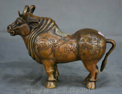 """9.2"""" Old Chinese Bronze Silver Folk Feng Shui Animal Bull Oxen Cattle Sculpture"""