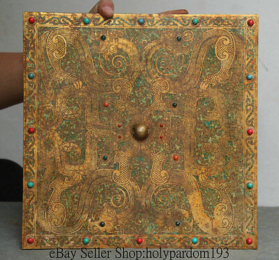 """12"""" Old Chinese Copper Gilt Turquoise Dynasty Dragon Beast Square Bronze Mirror"""
