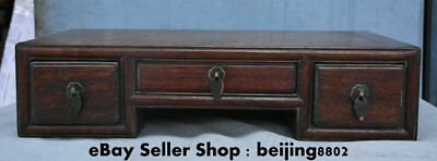 """16.8"""" Antique Old Chinese Huanghuali Wood Dynasty 3 Drawer Table Desk Furniture"""