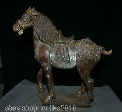 """17.6"""" Old Chinese Tang Sancai Pottery Dynasty War Horse Steed Success Sculpture"""