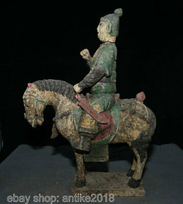 """16.8"""" Old China Tang Sancai Painting Pottery messenger Knight Ride Horse Statue"""
