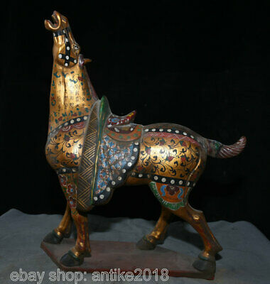 """16.4"""" Old China Tang Sancai Gold Painting Pottery Palace Word Steed Horse Statue"""