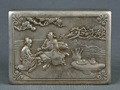 "3.8"" Rare Chinese Miao Silver Dynasty Old Man People ink box ink cartridge Boxes"