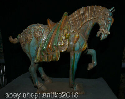 "20"" Old Chinese Tang Sancai Pottery Palace Tang Horse Steed Luck Sculpture"