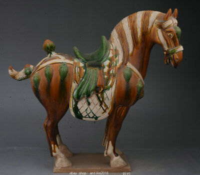 """10"""" Rare Old Chinese Tang Sancai Pottery Dynasty Animal Horse Success Statue"""