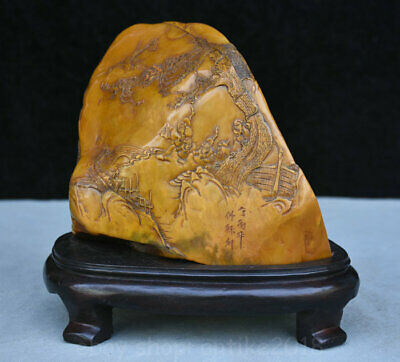 Tianhuang shoushan stone hand-carved Maple tree old man statue seal Stamp signet