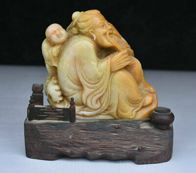 14cm Old Chinese Natural Shoushan Stone Carving Old Man Fisherman Child Statue