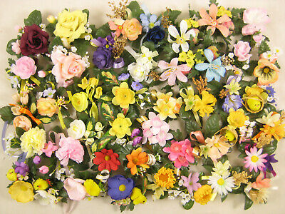 Job Lot 24x Artificial Flower Daffodil Heads with Gypsophila Gift Tags Crafts