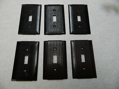 Vintage Lot of 6 Brown Single Switch Plates Bakelite? Uniline Ribbed & Striated