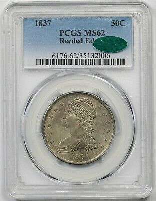 1837 50C PCGS/CAC MS 62 (Reeded Edge) Capped Bust Half Dollar
