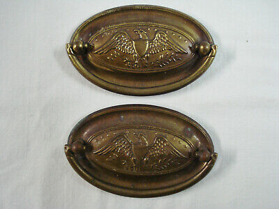 2 Antique Furniture Drawer Pulls Handles Brass Eagle Star Shield Federal Style