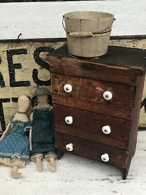 Aafa Early Primitive Prairie Farm Childs Doll Red Chest Of Drawers Cupboard