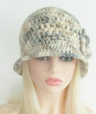 CLOCHE BUCKET HAT CHEMO CAP FLAPPER  TAN  BRIM FLOWER  HANDMADE CROCHET