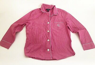 Ralph Lauren Large Pink Striped Button Up Pajama Top Shirt Cotton Long Sleeve