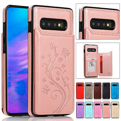 For Samsung S10e S9 S8 S10 Plus S7 WOMEN Leather Card Wallet Case Pattern Cover