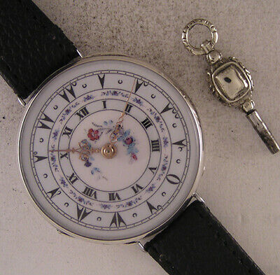ORIGINAL Cylindre 1860 French Two Dials Oriental & Roman SILVER Wrist Watch MINT
