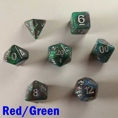 HD Universe Poly 7 Dice RPG Set Red Green Galaxy Pathfinder 5e Dungeons Dragons