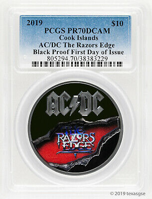 2019 $10 Cook Islands AC/DC The Razors Edge Black Proof Silver Coin PR70DCAM FDI