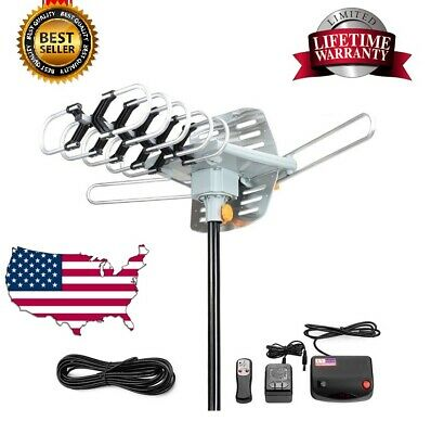 300 Mile HDTV 1080P Outdoor Amplified Digital Antenna 360 Rotor HD TV UHF VHF FM