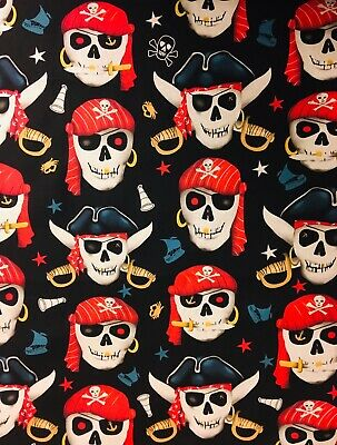 Pirate Skulls 100% Cotton Fabric Material BY HALF METRE  W 55""