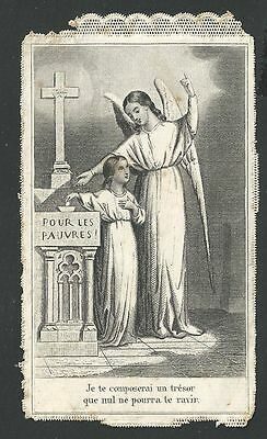estampa puntilla canivet antigua Angel Custodio image pieuse santino holy card