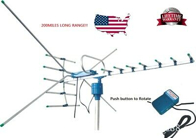 200Mile Outdoor TV Antenna Motorized Amplified HDTV 1080P 4K 22dB 360°Rotation