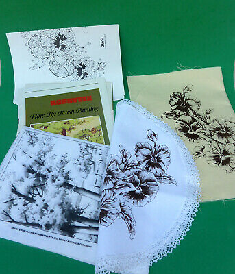 Vtg Hobbytex Pansy Runner+Doily+3 Pictures+Instruction  Ready to Paint Crafts