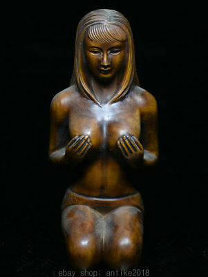 """5.2"""" Collect Rare Old China Boxwood Wood Hand Carved Woman Girl Naked Statue"""