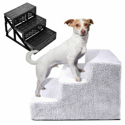 Pet Stairs 3 Steps Soft Portable Cat Dog Step Ramp Small Climb Ladder w/ Cover
