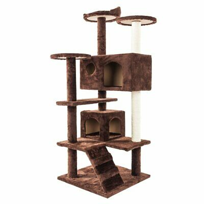 """52"""" Cat Tree Pet Scratching Post Tower Condo Furniture Kitty Play House Coffee"""