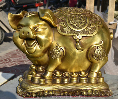 """16.4"""" China Brass Copper Folk Feng Shui Animal Pig Coins Yuanbao Wealth Statue"""