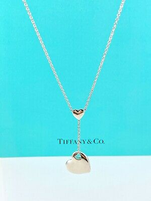 """Tiffany & Co Sterling Silver Cut Out Love Heart Drop Lariat 17.75"""" Necklace 200B"""