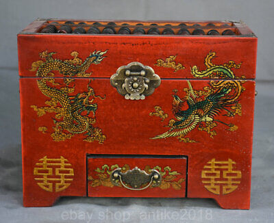 10.2 inch Old Chinese Red Lacquerware Palace Dragon Phoenix Abacus Abaci Box