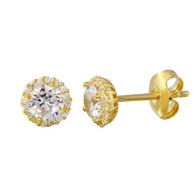 Sterling Silver 925 Gold Plated Cubic Zirconia Halo Stud Earrings For Women's