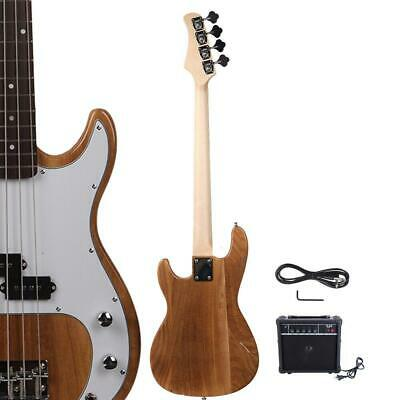 New Natural Glarry GP 4 Strings School Band Electric Bass Guitar with AMP