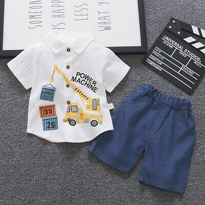 US Toddler Kids Baby Boy Gentleman Clothes Shirt Tops Shorts Pants Formal Outfit