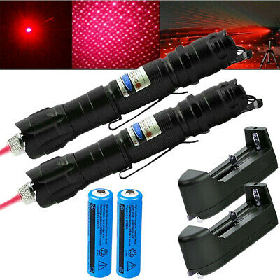 2PC 500Miles 650nm Red Laser Pointer Visible Beam Lazer Pen+Star Cap+Charger AUS