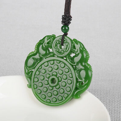 Beautiful Natural Green Hand-carved Chinese Hetian jasper Two Dragon Pendant
