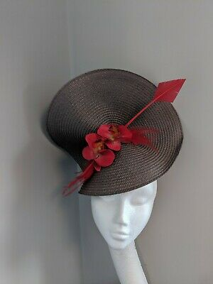 Pewter Grey And Red Woven Straw Fascinator, Races Weddings, Cheltenham Ascot