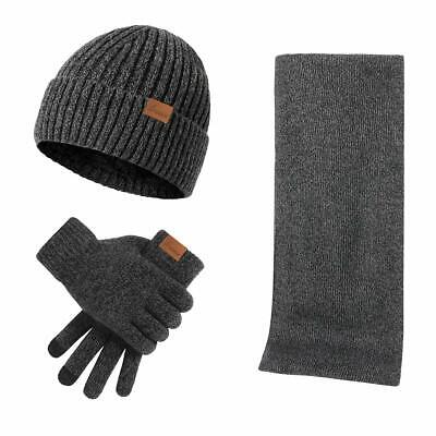 Men'S Winter Beanie Hat Neck Warmer Scarf And Touchscreen Gloves Set 3 Pcs Fleec