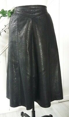 Vintage Genuine Leather Skirt Midi Black with Pocketa